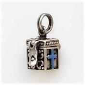 Blue Enamelled Cross/Wish Box Charm, Sterling Silver