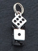 Black Enamelled Dice Charm, Sterling Silver