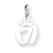 Sterling Silver Lucky 7 Horseshoe Charm - JewelryWeb