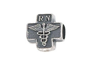 Zable(tm) Sterling Silver Cross with Caduceus and RN. Bead / Charm