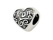 "Zable(tm) Sterling Silver Mom"" Heart Shape Bead / Charm"