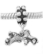 Sterling Silver Small Pair of Roller Skates Dangle Bead Charm