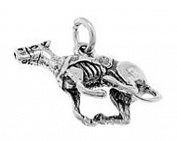 Sterling Silver Three Dimensional Racing Greyhound Dog Charm