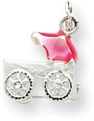 Pink Baby Girl Carriage Enamelled Charm, Sterling Silver