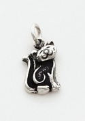 Black Enamelled Cat Charm, Sterling Silver