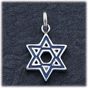 Blue Enamelled Star Of David Charm, Sterling Silver