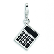 Sterling Silver 3-D Enamelled Calculator with Lobster Clasp Charm