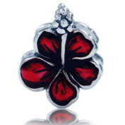 Red FLOWER Enamel Christmas Solid Sterling Silver Fits European Charm Bead Bracelets