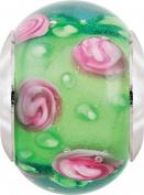 Persona Italian Glass Pink Roses & Dew Drops Charm fits Pandora, Troll & Chamilia European Charm Bracelets