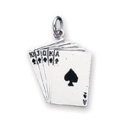 Sterling Silver Playing Cards Charm - JewelryWeb