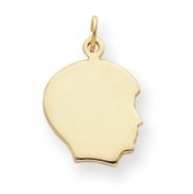 Gold-plated Small Engravable Boys Head Charm - JewelryWeb