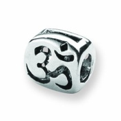 Sterling Silver Reflections SimStars Om Symbol Bead Charm - JewelryWeb
