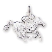 Sterling Silver Race Horse Charm - JewelryWeb