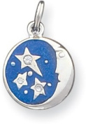 Enamel and Cubic Zirconia Moon and Stars Charm, Sterling Silver