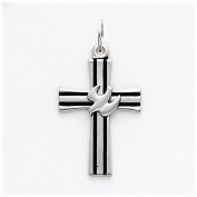 Black Enamelled Cross with Dove Charm, Sterling Silver