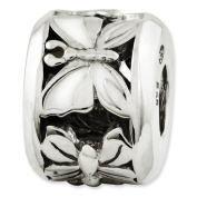Sterling Silver Reflections White Enamelled Butterfly Bead