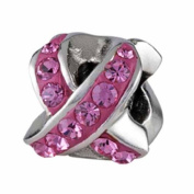 Silverado Silver CZ Pink Awareness Ribbon Bead Charm BM034-2