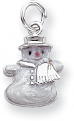 Enamelled Snowman Charm, Sterling Silver