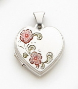 Pink Enamelled Locket Charm, Sterling Silver