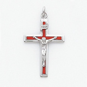 Red Enamelled Crucifix Charm, Sterling Silver