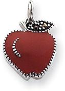 Marcasite Enamelled Apple Charm, Sterling Silver