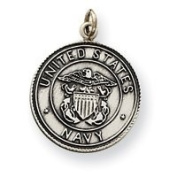 Sterling Silver US Navy Medal Charm - JewelryWeb