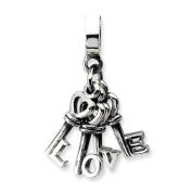 Sterling Silver Love Keys Dangle Charm Bead Fits Pandora Chamilia Biagi Bracelet