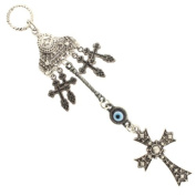 Evil Eye, Cross, and Heart Charm Wall Decoration/Accessory - 16.5cm Overall Length