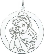 Sterling Silver Disney Princess Belle Round Charm