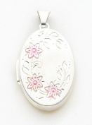 Pink Enamelled Locket Oval Charm, Sterling Silver