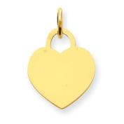 14k Gold Heart Disc Charm