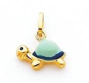 Green Enamelled Turtle Charm, 14K Yellow Gold