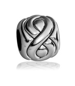 Embossed Full Infinity Symbol Bead in Sterling Silver