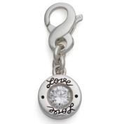 April Birthstone Charm, Sterling Silver