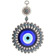 Evil Eye Protection Charm Wall Decoration - 22.9cm Overall Length - 8.9cm Main Evil Eye Diameter