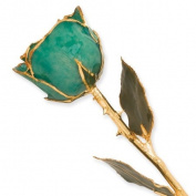 Long Stem Dipped 24k Gold Trim Green Rose In Gold Gift Box