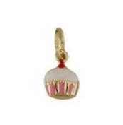 18K Yellow Enamel Gold Cupcake Charm