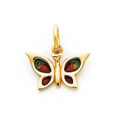 Multi Enamelled Butterfly Charm, 14K Yellow Gold