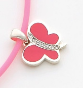Pink Enamelled Butterfly Charm, Sterling Silver