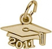 Rembrandt Charms 2011 Graduation Cap Charm, 10K Yellow Gold