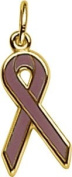 Rembrandt Charms Relay For Life/Purple Ribbon Charm, 10K Yellow Gold
