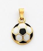 Black/White Enamelled Soccer Ball Charm, 14K Yellow Gold