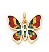 Multi Enamelled Butterfly Charm, 14K Yellow Gold