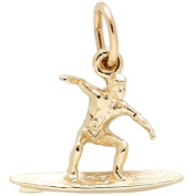 Rembrandt Charms Surfer Charm, 10K Yellow Gold