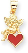 Enamel Heart with Angel Red Charm, 14K Yellow Gold
