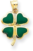 Green Enamelled Four Leaf Clover Charm, 14K Yellow Gold