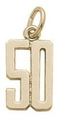 Rembrandt Charms Number 50 Charm, 10K Yellow Gold