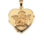 14K Yellow Gold 17.50X18.50 Mm Heart Shaped Locket With Angel