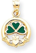 Green Enamelled Claddagh with Shamrock Charm, 14K Yellow Gold