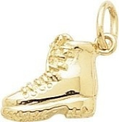 Rembrandt Charms Hiking Boot Charm, 10K Yellow Gold